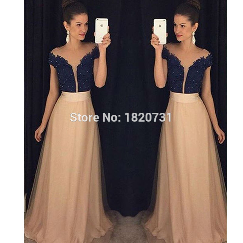 2019 New Hot Sale Deep V-neck Cap Sleeves Floor Length Party Evening Gown With Beading A Line Tulle Prom Dress Robe De Soiree To Prevent And Cure Diseases