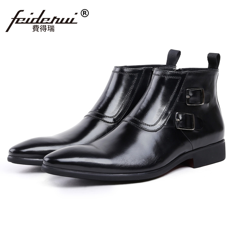 Vintage Man Monk Straps Wedding Shoes British Designer Genuine Leather Handmade Footwear Formal Men's Martin Ankle Boots JS83 serene handmade winter warm socks boots fashion british style leather retro tooling ankle men shoes size38 44 snow male footwear