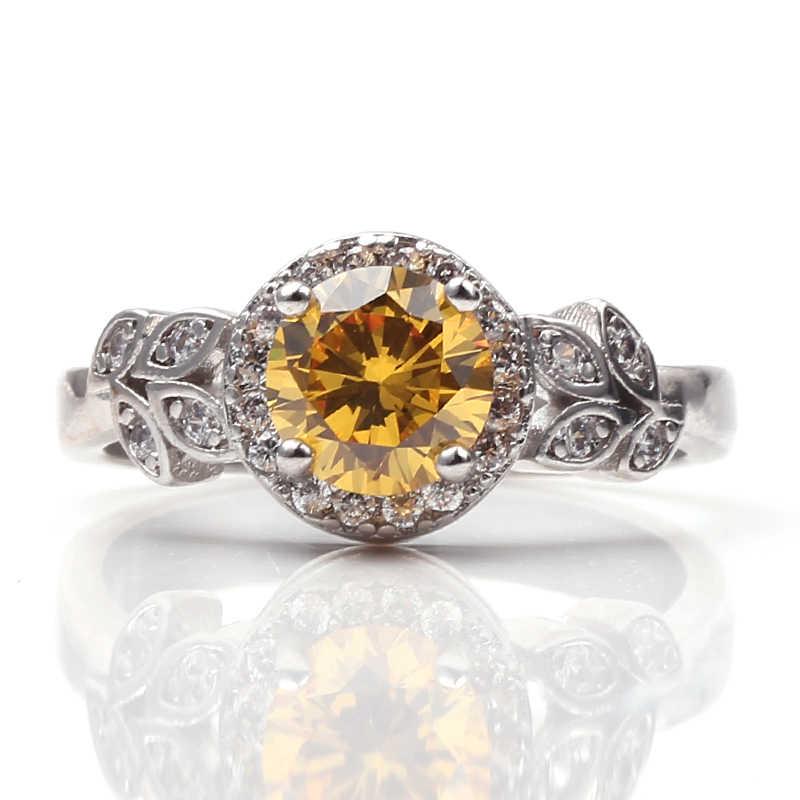 สีขาว Cz Zircon แหวนคู่ดอกไม้สไตล์เครื่องประดับแหวนหมั้นสำหรับของเธอลูกปัดกลุ่ม 2018