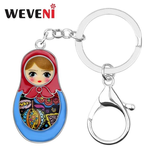 WEVENI Enamel Alloy Matryoshka Russian Dolls Key Chain Keychain Ring Cartoon Souvenir Gift Jewelry For Women Girl Bag Car Charms