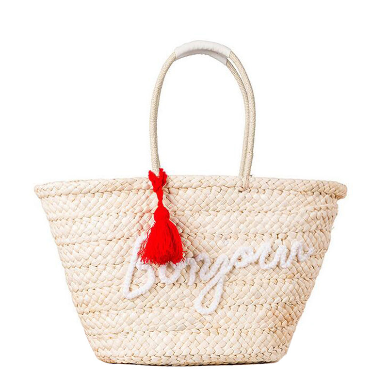 Fashion Bohemian Knitted Straw Summer Beach Handbags Tassel Letter Women Shoppin