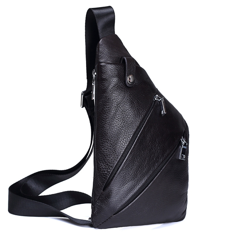 High Quality Men Genuine Leather Cowhide Vintage Sling Chest Back Day Pack Travel fashion Cross Body Messenger Shoulder Bag men high quality oil wax genuine leather cowhide messenger shoulder cross body bag travel vintage sling chest back day pack