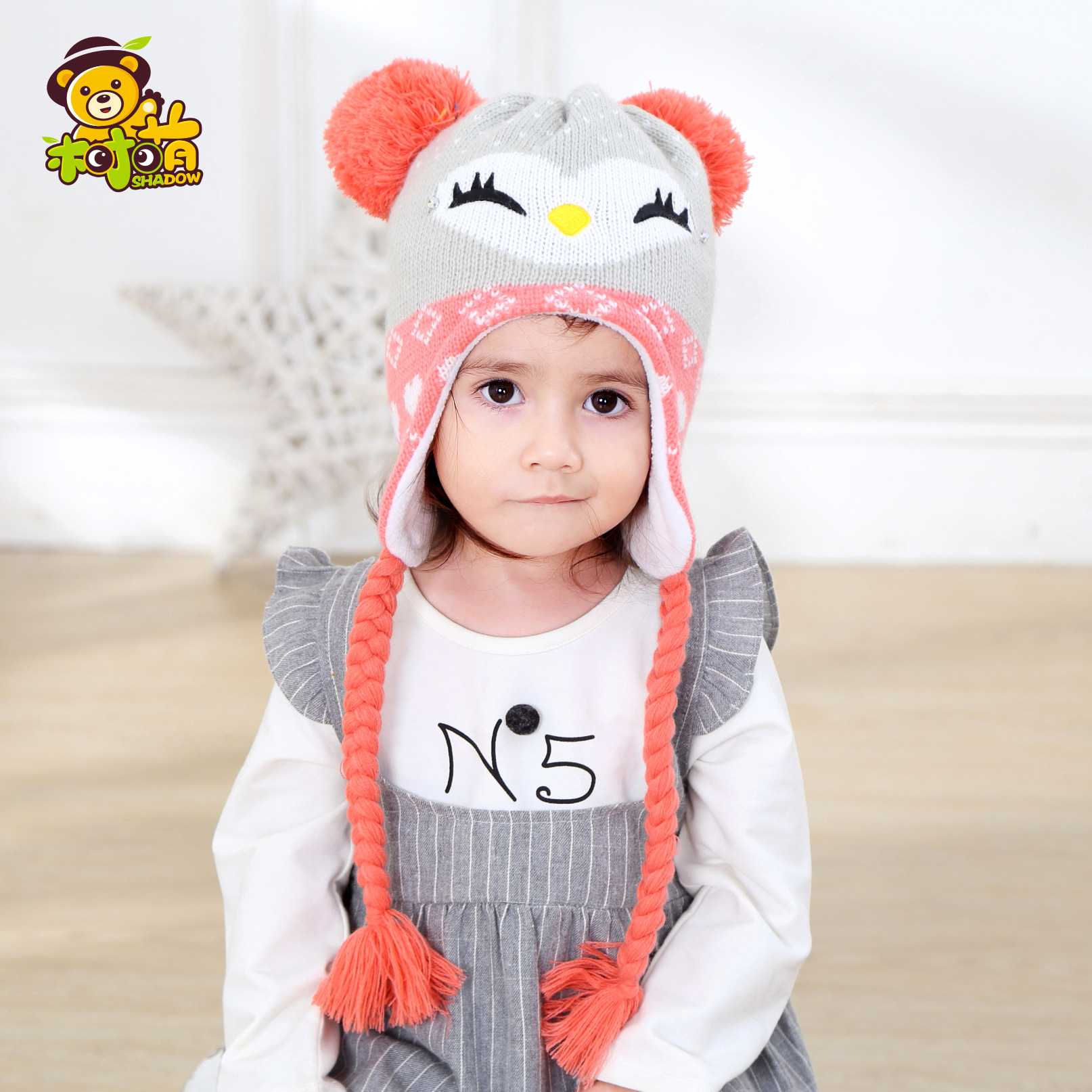 2017 New Children Knit Hat Winter Baby Girls Boys Beanie Hat Ear Flap Fleece  Lining Toddler Kids Warm Hat 728262bbb5e