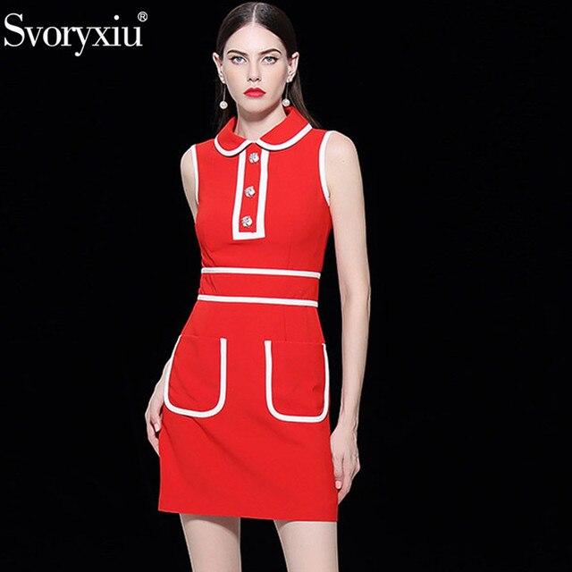 Svoryxiu Fashion Designer Autumn Big Size Mini Dresses Women s Sleeveless  Gorgeous Button Red Christmas Party Dress Vestidos 7bf87489281a