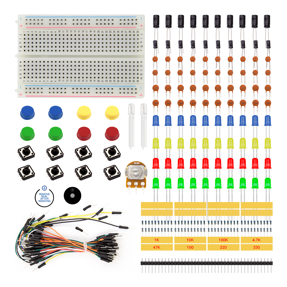hight resolution of uno r3 starter kit for arduino projects including resistor led capacitor jumper wires