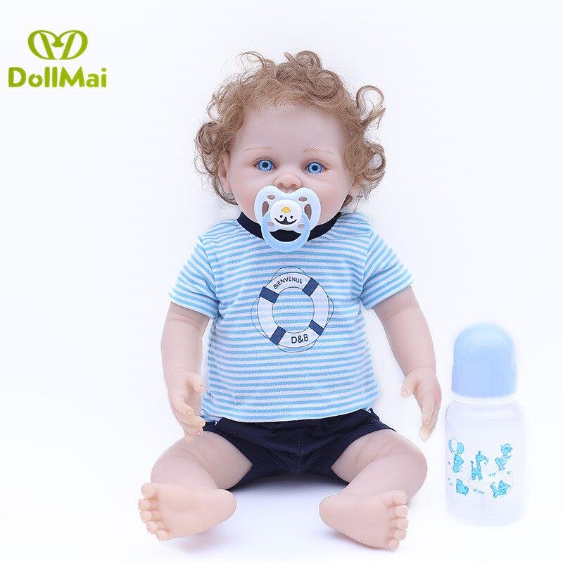 43 cm Silicone reborn garçon bébés poupées cheveux bouclés mode enfant en bas âge poupée jouets cadeau bonecas bebe enfants anniversaire cadeau de noël