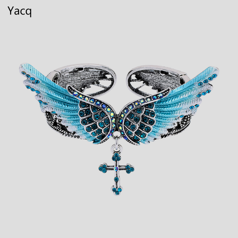 YACQ Wings Cross Stretch Armbånd Bangle for Women Girls Biker smykker W Crystal Antique Silver Color D02 Wholesale Dropshipping