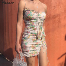 2019summer boho elegant Beach club bodycon dress women party night Floral mini dress ladies Bohemian sexy lace up Casual dresses
