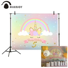 Allenjoy unicorn backdrop photography Rainbow Golden Child Birthday Party photocall backgrounds for photo studio photophone