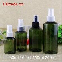 30 adet ücretsiz kargo 50 100 150 200 ML yeşil Lucency plastik sprey boş parfüm şişesi Toner yeni ürün kozmetik konteynerler