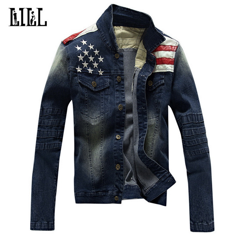 2017 Spring New Fashion Jean Jacket With Leather Flag Men Style Bomber Jackets Male Veste Homme Mens Slim Jeans Jacket,UMA381