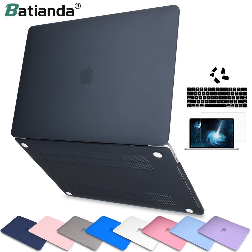 Caso do portátil para apple macbook air pro retina 11 12 13 15 tampa fosco acabamento para macbook novo air pro touch bar id tampa do teclado