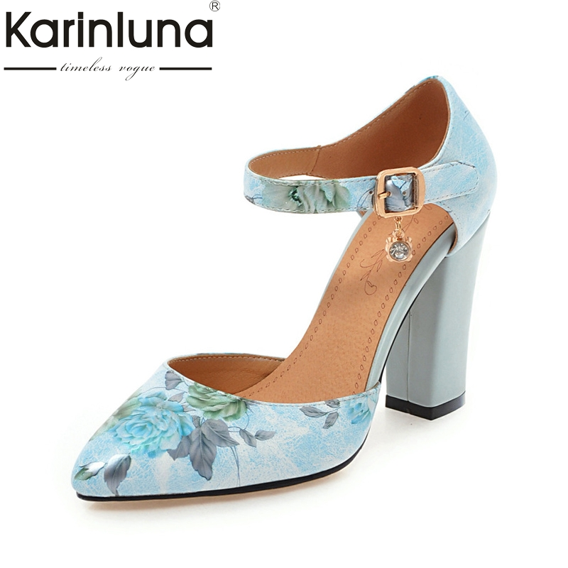 KARINLUNA plus size 31-46 pointed toe printing two piece pumps woman shoes sexy high heels ankle strap women shoes summer shoe enmayer cross tied shoes woman summer pumps plus size 35 46 sexy party wedding shoes high heels peep toe womens pumps shoe