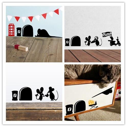 3d Divertido ratón agujero pegatinas de pared para cuartos de los niños calcoman