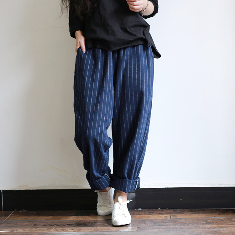 2016 Women Vertical Striped Loose Cotton Loose pants Female Casual Striped Trousers Ladies Plus Size Wide