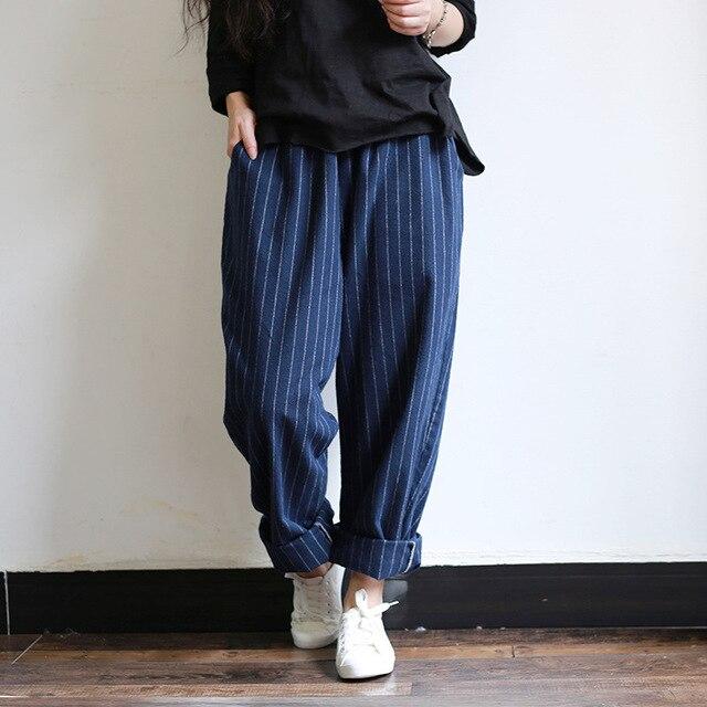 2016 Women Vertical Striped Loose Cotton Loose pants Female Casual Striped Trousers Ladies Plus Size Wide Leg Pants