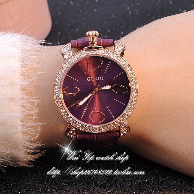 GUOU fioletowe różowe złoto kobiety luksusowa marka pełna - Zegarki damskie - Zdjęcie 3