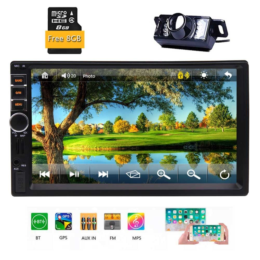 7-Inch Touch Panel Control Wireless Rear Camera 8GB Map Card GPS <font><b>Antenna</b></font> Remote Control support USB SD SWC Phone Mirror Eincar image