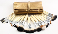 High Quality 28 Pcs Golden Makeup Mineral Brush Set Free Shipping
