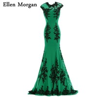 Green Mermaid Evening Dresses 2018 Cap Sleeve Special Occasion Actual Image Chiffon With Black Lace Formal Gowns For Women Wear