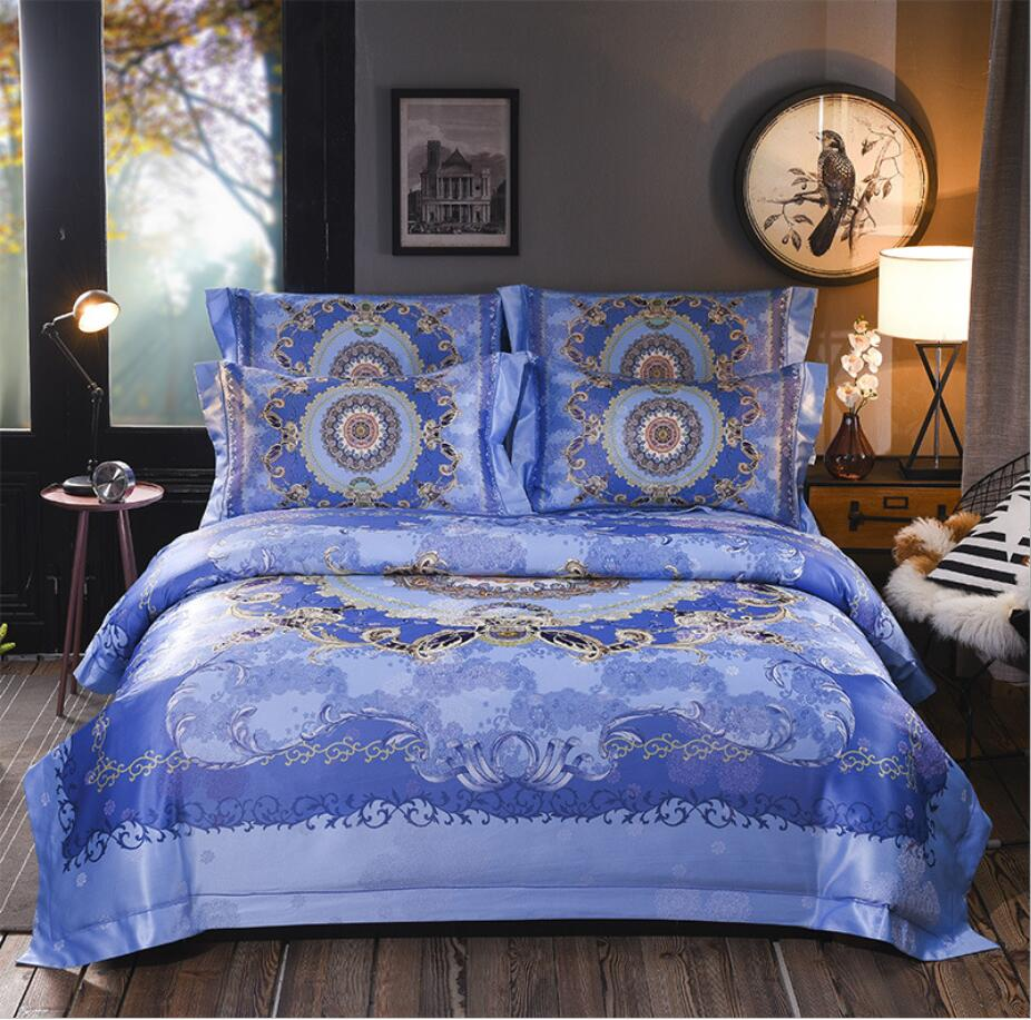 Bohemia Home Textile Jacquard Bedclothes bed set Digital printing Luxury bedding sets Satin quilt cover bed sheet pillow casesBohemia Home Textile Jacquard Bedclothes bed set Digital printing Luxury bedding sets Satin quilt cover bed sheet pillow cases