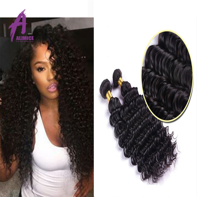 3PCS Alimice hair brazilian virgin hair deep curly Virgin Brazilian curly hair Unprocessed human hair weave brazilian deep wave