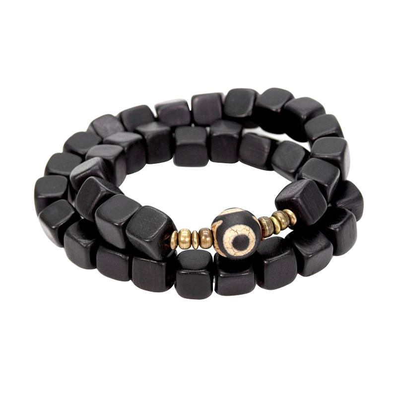Natural Ebony Punk <font><b>Square</b></font> Beads Charm Bracelet for Men Bracelet Evil Blue Eye Beads Bracelet for Women Gift
