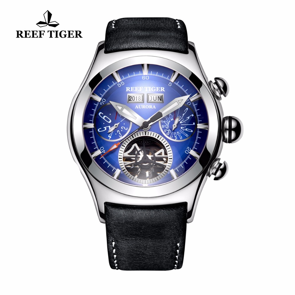 Reef Tiger/RT Luminous Blue Dial Watches for Men Calendar Automatic Sport Watches Analog Tourbillon Watches RGA7503 reef tiger rt super luminous dive watches for men rose gold blue dial watches analog automatic watches rga3035