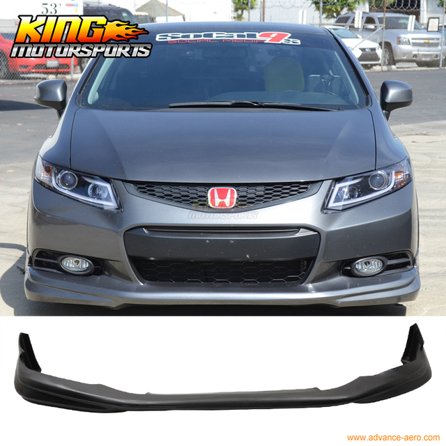 For 2012 2013 9Th Gen Honda Civic Coupe 2Dr Usdm Modulo Style Unpainted Front Lip-in License ...