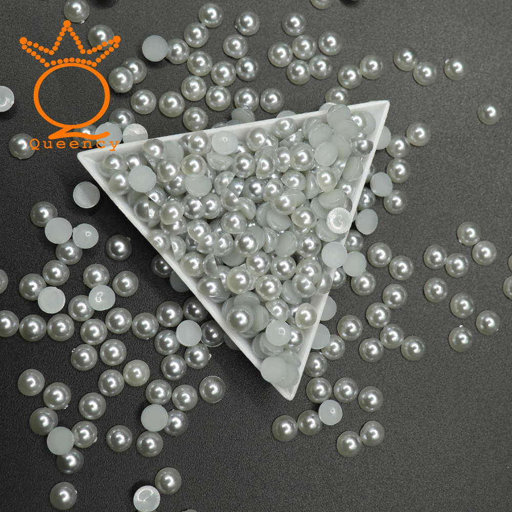 Acrylic Half Pearls Beads Nail Accessories Gray Color 1.5mm-8mm Polished Half Round Imitation Flatback Semicircle Pearls Beads