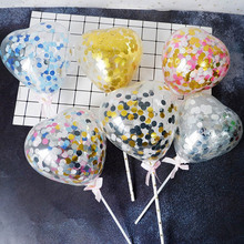 5inch Confetti Heart Balloon Cake Topper Carta Wedding Party  Decoration CupcakeToppers For Childrens supplies