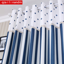 Mediterranean Modern stripe dot stitching full blackout curtains with blue dots tulle for children room living windows