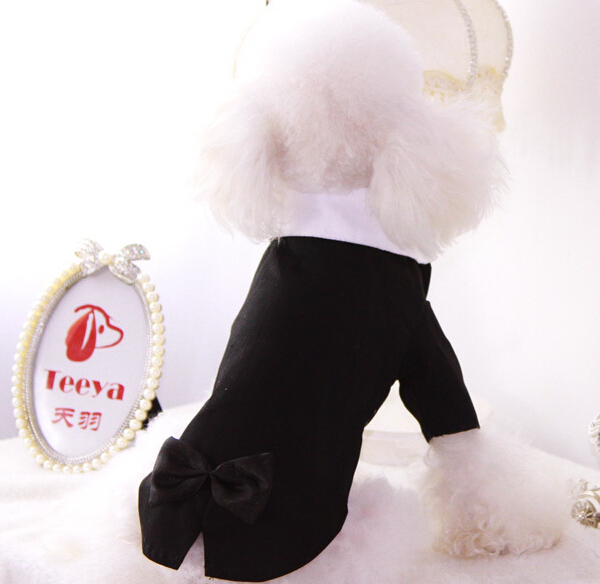 Pet Dog cat handsome wedding costume doggy cool fashion bowknot suit clothes puppy bridegroom shirts dogs cats jackets 1pcs