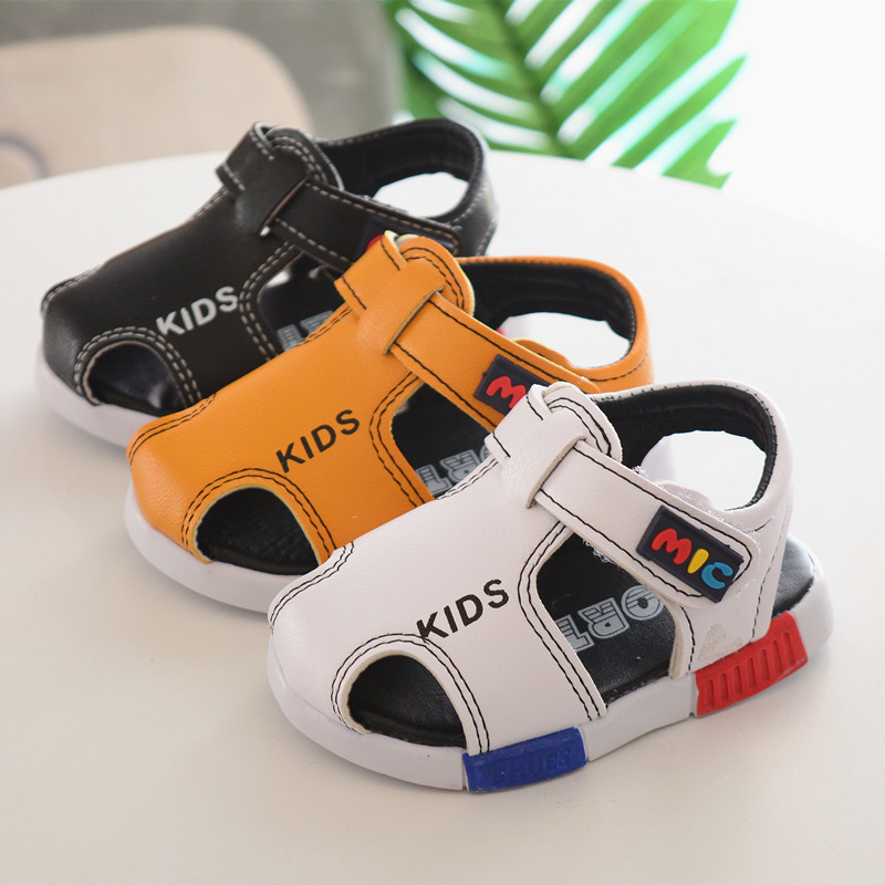 summer fashion kids shoes Artificial PU boys school sandals yellow girl shoes beach sandal shoes sandals black white