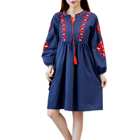 Ladies Cotton Vintage Vestidos 2017 New Chinese Style Women Lantern Sleeve Flowers Embroidery Cotton Dresses Blue