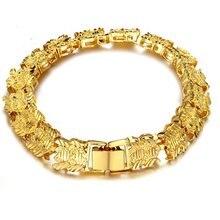 Широкий браслет на запястье с желтым золотом для женщин и мужчин