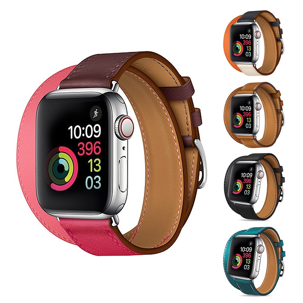 Yolovie Genuine Leather Double Loop Band for Apple Watch 42mm 44mm Series 4 3 2 1, Long Wrist Strap for iWatch Bands 38mm 40mm ashei new watch strap for apple watch band series 4 leather 40mm 44mm wrist bands straps for iwatch nike series 3 2 1 38mm 42mm