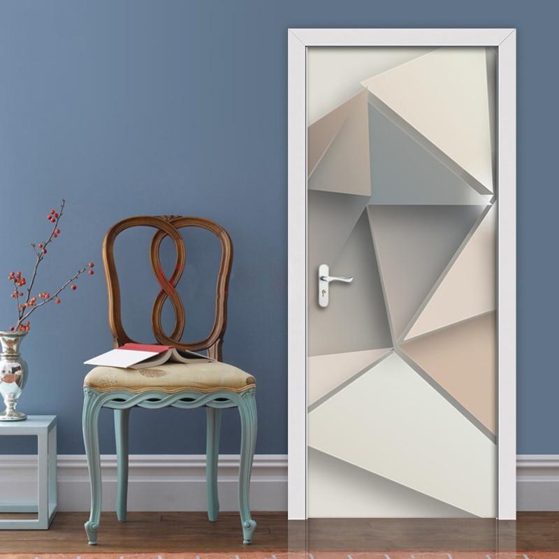 2pcs/set Creative Geometric Pattern Door Stickers Wall Home Decoration PVC Waterproof Bedroom Door Sticker Wallpaper Wall Decals|Door Stickers|Home & Garden - title=
