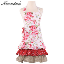 Neoviva Durable Canvas Child Apron for Kid Girls with Pocket, Style Little Doris, Floral Lollipop Red