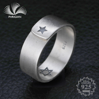NOT FAKE Jewelry Ring 100% Sterling silver Ring 925 Thai silver fine Art open wide women lady vintage jewish Star