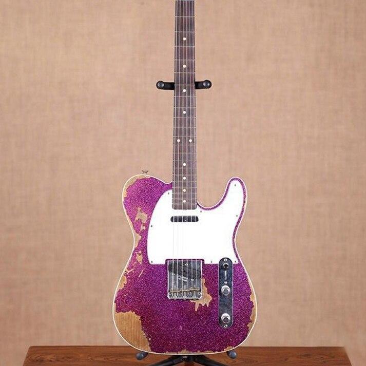 Custom Shop main télédiffusion gitaar, violet couleur Tele Guitare électrique reliques par mains. Maître construire relic TL guitarra
