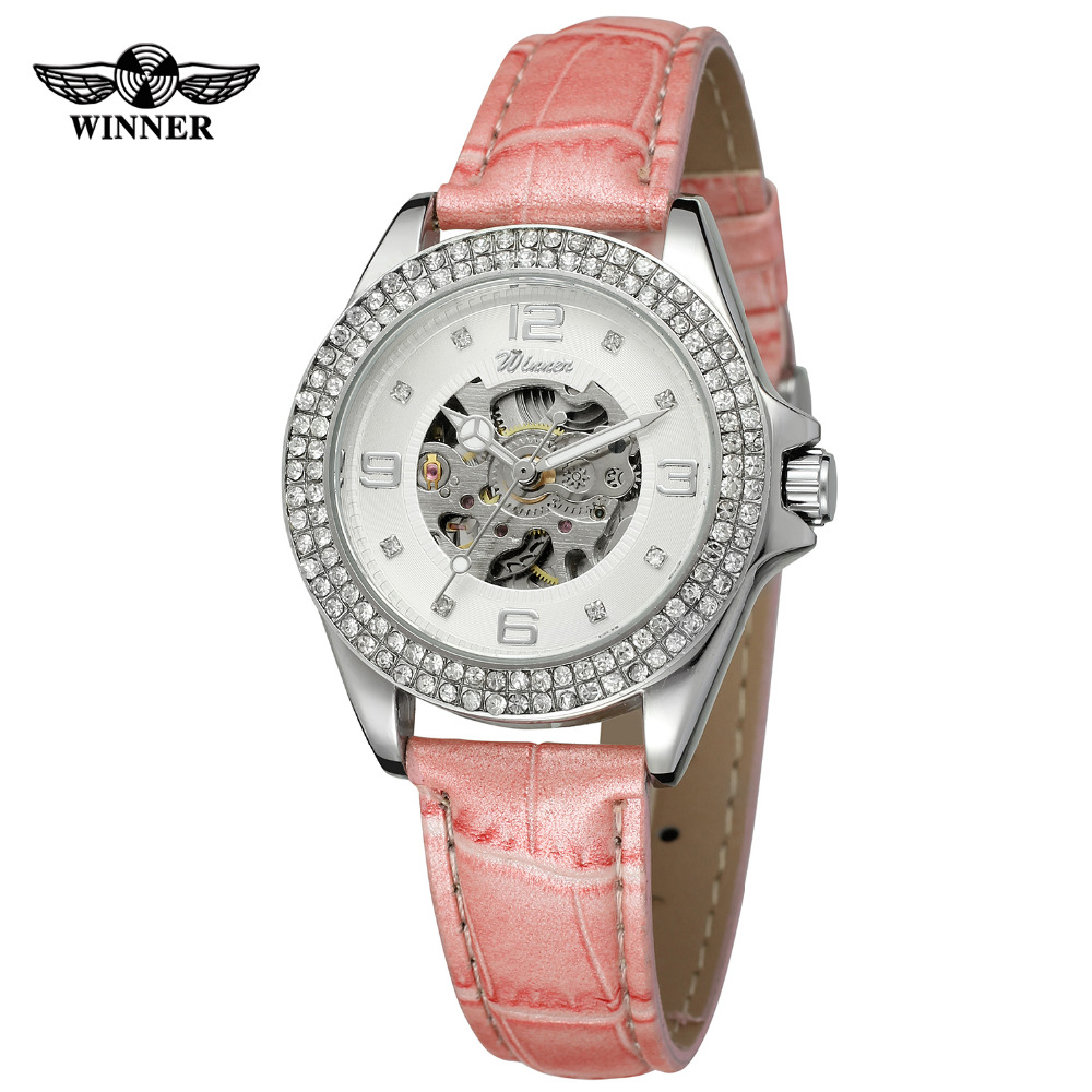 WINNER Brand Luxury Women Colorful Clear Stone Skeleton Automatic Mechanical Watches Leather Band Ladies Wristwatch Gift Box 2016 winner watches women lady luxury brand skeleton automatic mechanical wristwatches artificial leather band relogio feminino