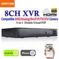 Novo CCTV 8 Canais XVR Gravador de Vídeo Todos Os HD 1080 P 8CH Super suporte AHD DVR Gravação 5-em-1/Analógico/IP Onvif/TVI/Câmera CVI