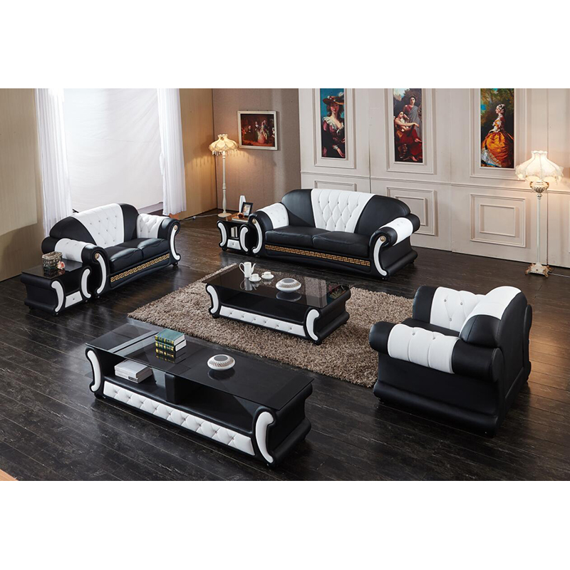 Modern Genuine Leather Chesterfield Sofa With Coffee Table And Tv