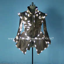 White Led Luminous Evening Party Dress Light Up Growing Stage Performance Sexy Women Ballroom Costume For Club Bar Halloween