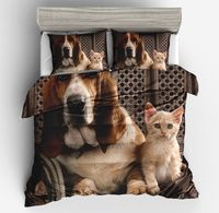 2018 New 3d dogs cat print king/queen/single size 3/2pcs bedding set of cartoon children boy girl duvet/doona cover pillow cases
