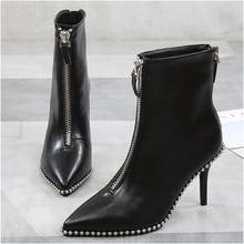 2019 برشام ديكور أحذية النساء موضة أشار تو عالية الكعب الجبهة عودة سحابات أحذية امرأة جديدة رقيقة كعب حذاء من الجلد للنساء