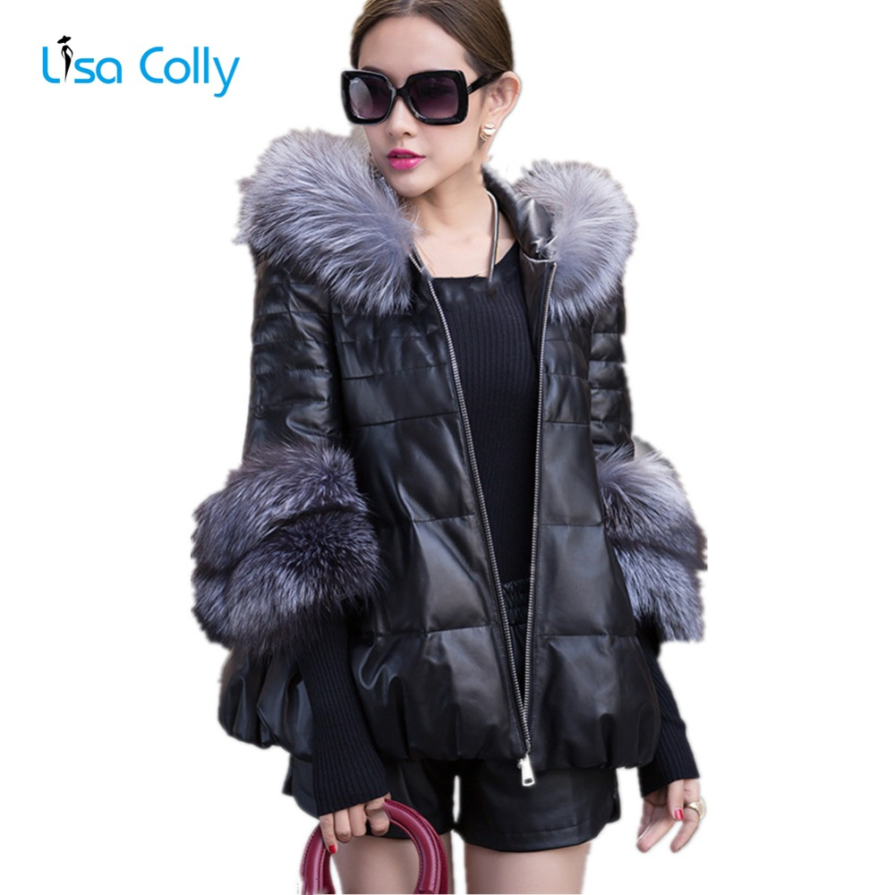 Lisa Colly Women faux fur coat women fur jacket 2017 autumn winter Black overcoat Women Warm