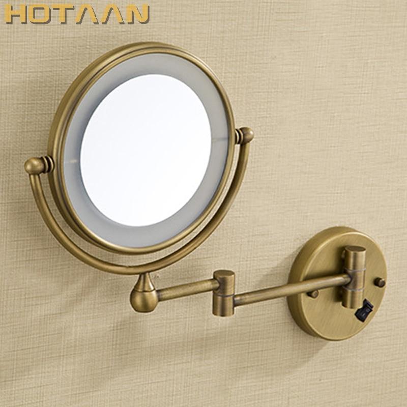 Antique en laiton LED lumière maquillage miroirs 8 ronde double côtés 3X/1X miroirs salle de bains cosmétique miroir mural miroir grossissant
