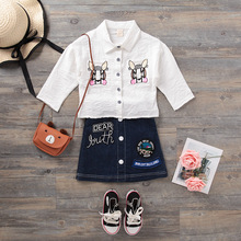 Girls Sets 2018 New Children Clothing Cartoon Print Kids Clothes Shirt +Demin Skirt 2Pcs Suits Embroidery Set(China)